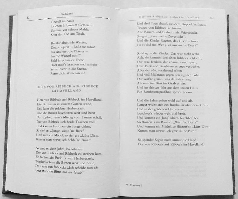 Aus Fontanes Werke in fünf Bänden, Erster Band, Gedichte, Meine Kinderjahre, Erinnerungen, Aufsätze und Theaterkritiken, Aufbau-Verlag Berlin und Weimar 1979.